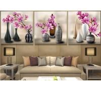 Алмазная вышивка Триптих Симфония цветения 3 х 30 х 30 см (арт. FR506) круглые камни