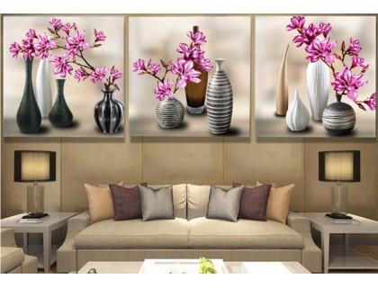 Купить Алмазная вышивка Триптих Симфония цветения 3 х 30 х 30 см (арт. FR506) круглые камни