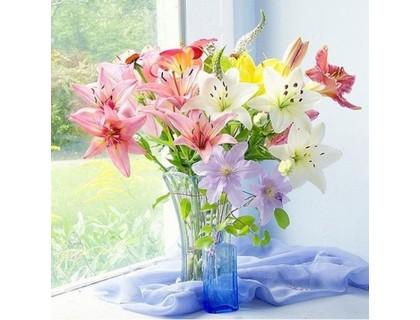 Купить Алмазная вышивка Букет лилий в вазе 30 х 30 см (арт. FR091)