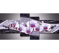 Алмазная вышивка Квартет Нежная орхидея 125 х 40 см (2х40х20 см, 2х40х25 см) (арт. FR505) модульная