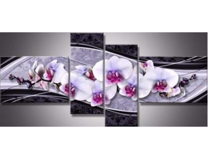 Купить Алмазная вышивка Квартет Нежная орхидея 125 х 40 см (2х40х20 см, 2х40х25 см) (арт. FR505) модульная