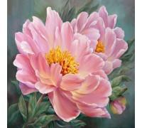 Алмазная живопись круглые камни Розовые цветы 30 х 30 см (арт. FR512)