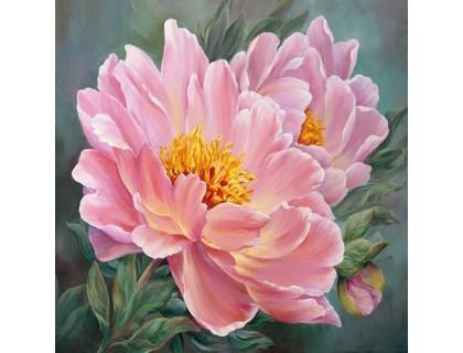 Купить Алмазная живопись круглые камни Розовые цветы 30 х 30 см (арт. FR512)