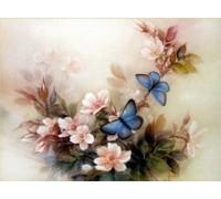 Набор алмазной вышивки Цветочная композиция с бабочками 30 х 40 см (арт. FS041)