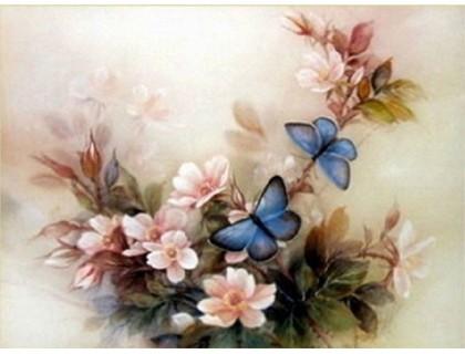 Купить Набор алмазной вышивки Цветочная композиция с бабочками 30 х 40 см (арт. FS041)