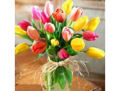 Купить Алмазная вышивка Весенний букет тюльпанов 20 х 20 см (арт. FS066)