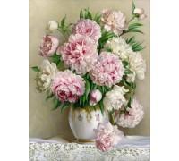 DIY Алмазная вышивка Букет светлых цветов в вазе на подрамнике 50 х 40 см (арт. TN562)