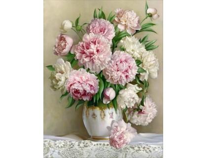 Купить DIY Алмазная вышивка Букет светлых цветов в вазе на подрамнике 50 х 40 см (арт. TN562)