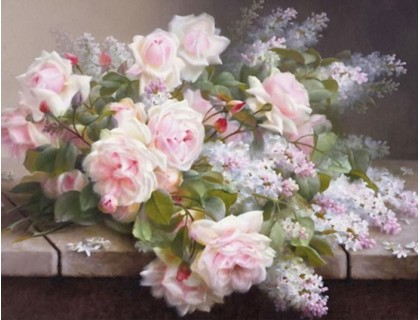 Купить Алмазная вышивка Букет сирени с розами 30 х 20 см (арт. FS118) квадратные алмазы