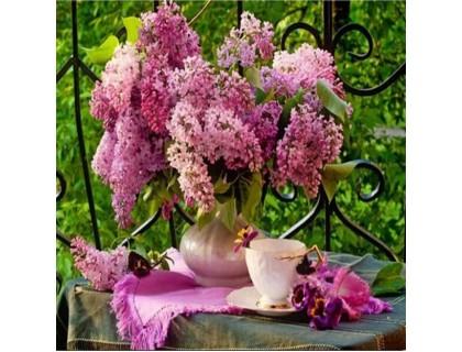 Купить Алмазная вышивка Романтичная сирень и чашка чая KLN 30*30 см (арт. FS124)
