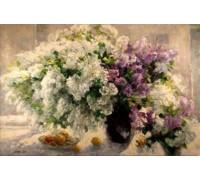 Алмазная вышивка Цветы в пастельных тонах 30*20 см (арт. FS126)