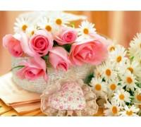 Алмазная вышивка Розы и ромашки для тебя 40 х 30 см (арт. FS167)
