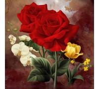 Алмазная вышивка Богатые розы 20 х 20 см (арт. FS191)