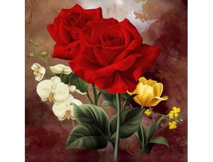 Купить Алмазная вышивка Богатые розы 20 х 20 см (арт. FS191)