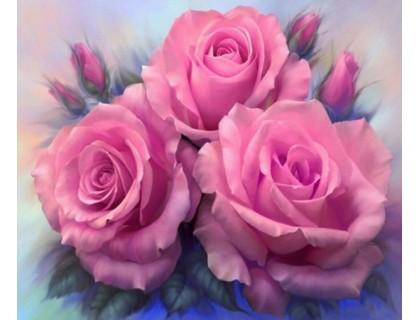 Купить Алмазная вышивка Три розовые розы 40 х 30 см (арт. FS310)