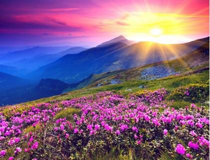 Купить Алмазная мозаика 5D Закат в горах 40 х 30 см (арт. FS589)