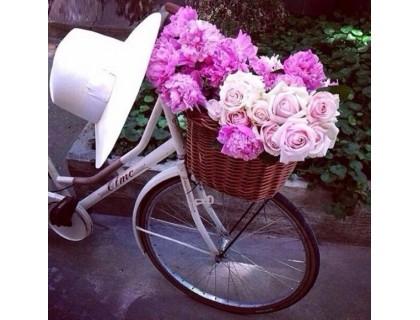 Купить Рисование камнями Велосипед флористки 40 х 40 см (арт. FS632) алмазная вышивка