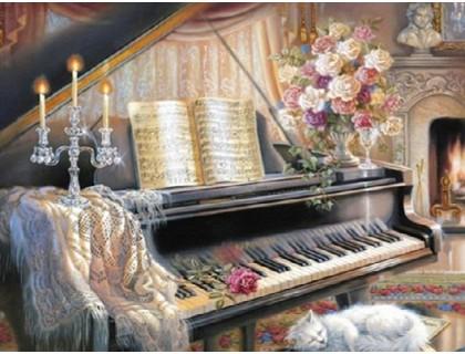 Купить Алмазная вышивка 40 х 50 см на подрамнике В плену у музыки (арт. TN704)