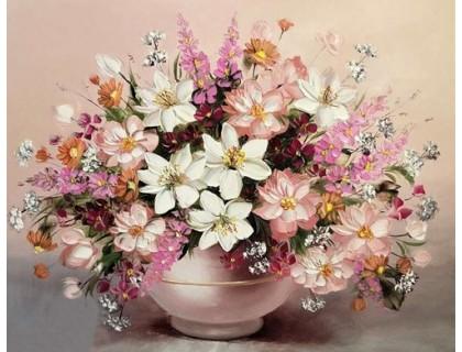 Купить Алмазная вышивка Нежный букет в вазе 40 х 30 см (арт. MA623) без коробки MyArt