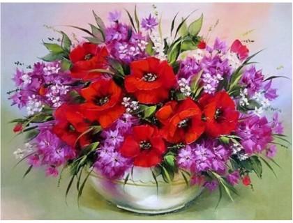 Купить Алмазная мозаика без коробки MyArt Цветы для бабушки 40 х 30 см (арт. MA803)
