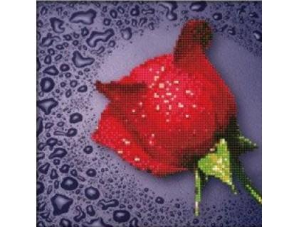 Купить Комплект алмазной вышивки круглыми камнями Красная роза 22 х 22 см (арт. PR060) частичная выкладка