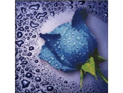 Купить Набор алмазной вышивки Синяя роза 22 х 22 см (арт. PR063) частичная выкладка