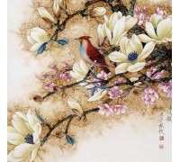 Алмазная вышивка 30 х 30 см на подрамнике Птица на ветке дерева (арт. TN009)