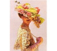 DIY Алмазная вышивка 40 х 30 см на подрамнике Леди в шляпке с цветами (арт. TN163)