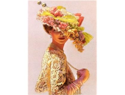 Купить DIY 40 х 30 см Алмазная вышивка на подрамнике Леди в шляпке с цветами (арт. TN163)