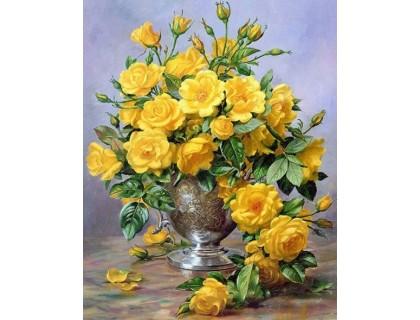 Купить Алмазная вышивка 40 х 30 см на подрамнике Ароматный букет желтых роз  (арт. TN164)