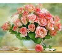 DIY Алмазная вышивка 40 х 30 см на подрамнике Сочный букет роз (арт. TN169)
