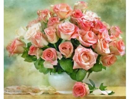 Купить DIY Алмазная вышивка 40 х 30 см на подрамнике Сочный букет роз (арт. TN169)