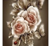 DIY Алмазная вышивка 30 х 30 см на подрамнике Английские розы (арт. TN446)