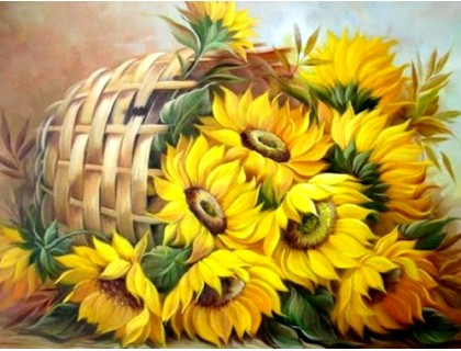 Купить Алмазная вышивка 50 х 40 см на подрамнике Цветы солнца (арт. TN567)