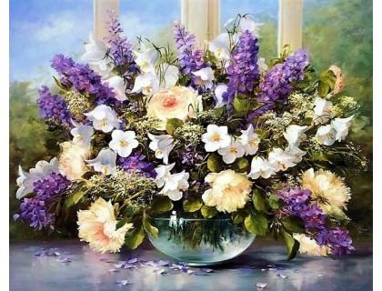 Купить Набор 40 х 50 см для алмазной вышивки на подрамнике Весенний букет в вазе (арт. TN772)