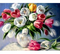 Алмазная вышивка 40 х 50 см на подрамнике Букет тюльпанов (арт. TN867) полная выкладка