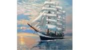 Море, корабль, пляж, набережная алмазная вышивка