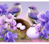 Алмазная мозаика Гнездышко птиц 30 х 30 см (арт. FS431)