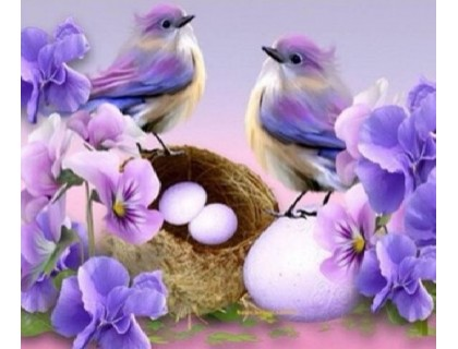 Купить Алмазная мозаика Гнездышко птиц 30 х 30 см (арт. FS431)