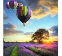 Алмазная вышивка Пейзаж с воздушными шарами 30 х 30 см (арт. FS042)