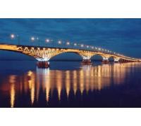 Алмазная вышивка Мост при свете фонарей 40 х 30 см (арт. FS255)