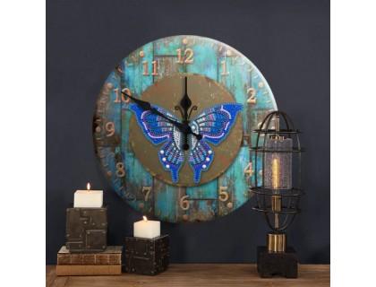 Часы в алмазной мозаике Бабочка (FT014)
