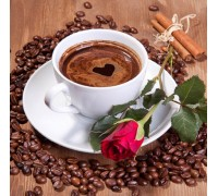 Набор алмазной вышивки Роза с кофе 20 х 20 см (арт. FS053)