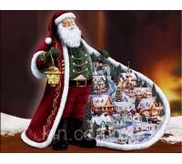 Алмазна вишивка Дід Мороз та Новий Рік 30 х 40 см (арт. FR685) круглі стрази