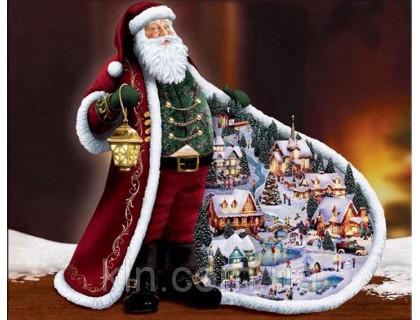 Купить Алмазна вишивка Дід Мороз та Новий Рік 30 х 40 см (арт. FS685)