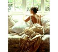 Алмазная вышивка DIY Девушка у окна 30 х 40 см (арт. FR103)