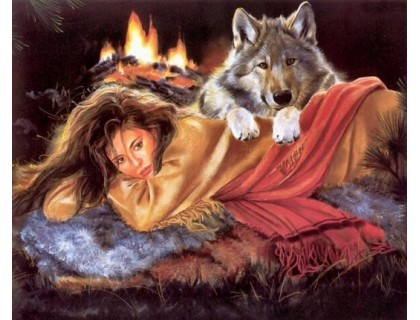 Купить Алмазная вышивка Девушка и волк греются 40 х 30 см (арт. FR148)
