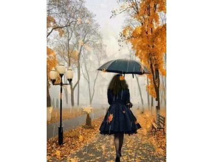 Купить Алмазная мозаика круглые камни Девушка с зонтом 30 х 40 см (арт. FR522)