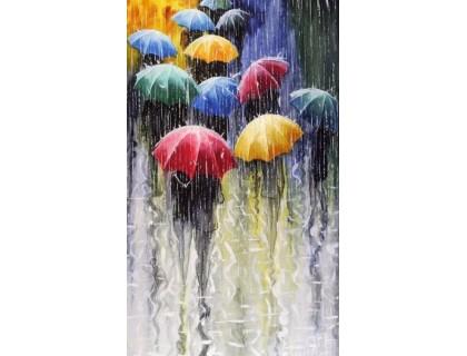 Купить Набор алмазной вышивки Под дождем яркие зонты 25 х 20 см (арт. FS050)