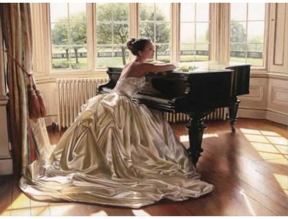 Купить Алмазная вышивка Девушка у рояля 45 х 30 см (арт. FS151)